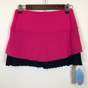 NWT lucky in love pink & navy ruffle skirt small